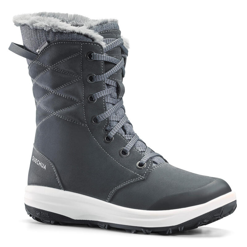 Women's Warm and Waterproof Leather Hiking Boots - SH500 U-WARM