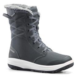 Warme en waterdichte leren wandelschoenen voor dames SH500 zwart