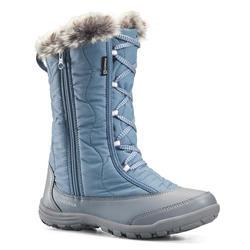 Warme waterdichte wandellaarzen voor de sneeuw kinderen SH500 X-Warm Zip blauw
