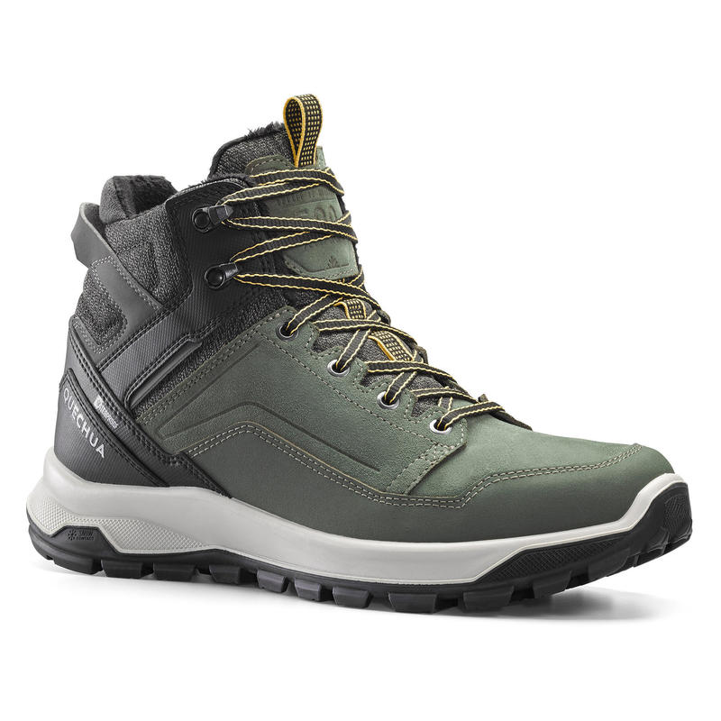 Men's Warm and Waterproof Leather Hiking Boots - SH500 X-WARM
