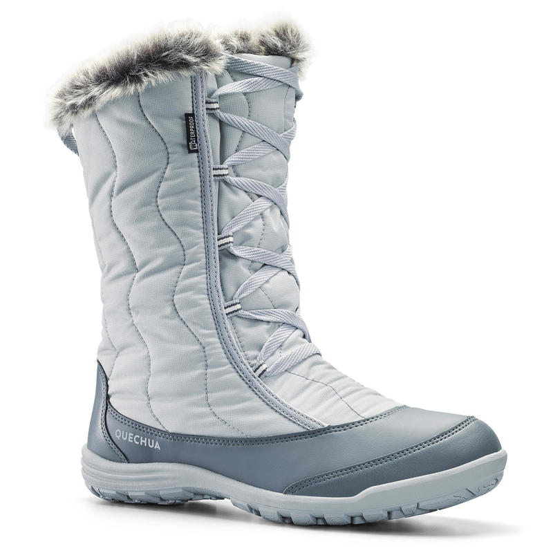 Botas de Nieve y Apreski Impermeables Mujer Quechua SH500 X-Warm Gris Altas