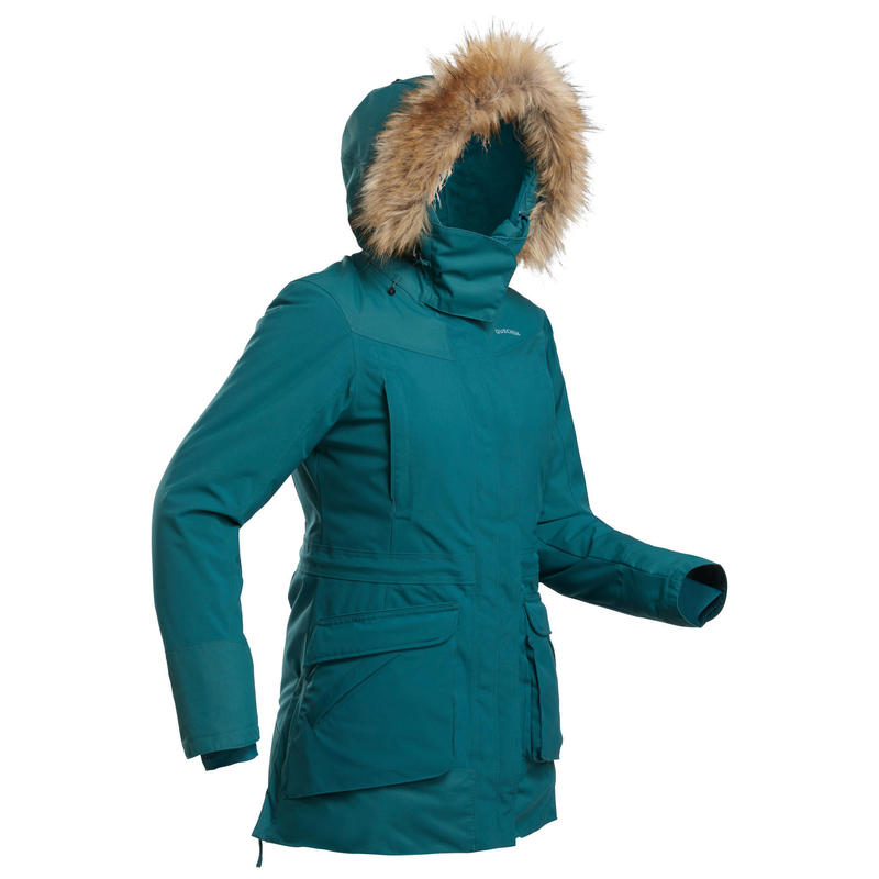 Warme en waterdichte parka voor wandelen dames SH500 ijsblauw