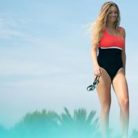 Maillot de bain de natation une pièce femme Heva li noir corail