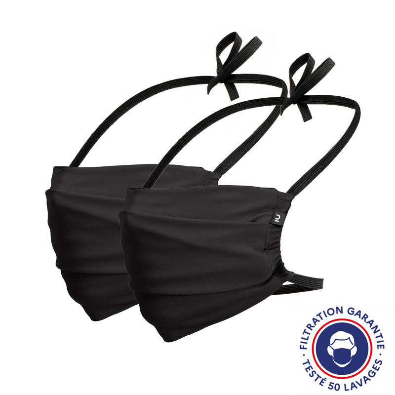 Adult Washable Barrier Mask Twin-Pack - Black