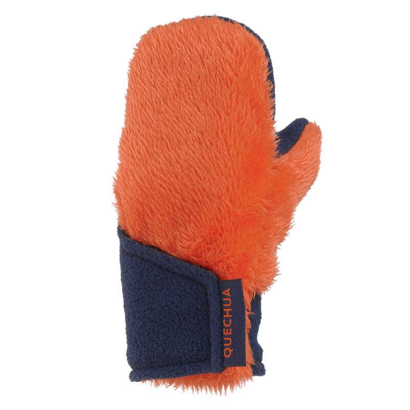 VANDRINGSHANDSKAR JUNIOR Populärt - FLEECEVANTAR SH100 ORANGE QUECHUA - Handskar