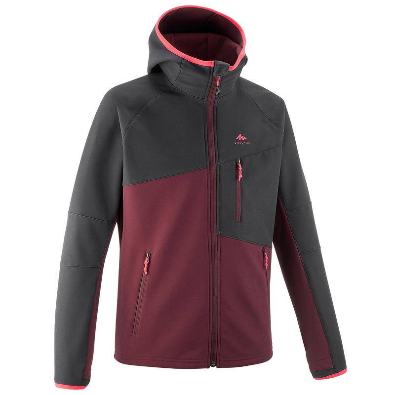 Kids' Softshell Hiking Jacket MH500 7-15 Years - Black and Burgundy