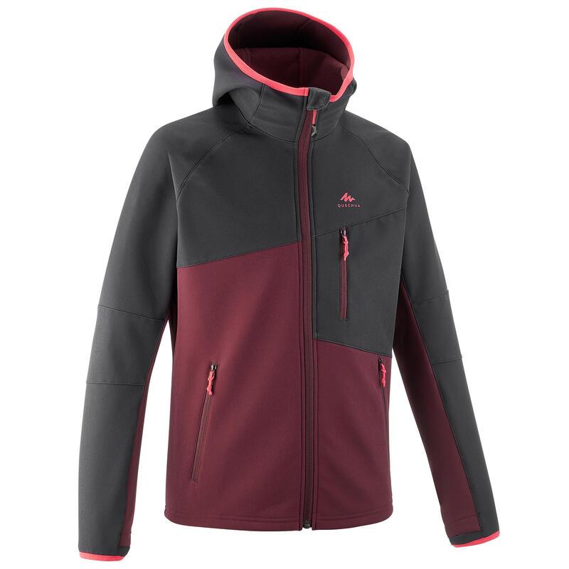 Softshell jas voor wandelen kinderen MH550 zwart en bordeaux 7-15 jaar