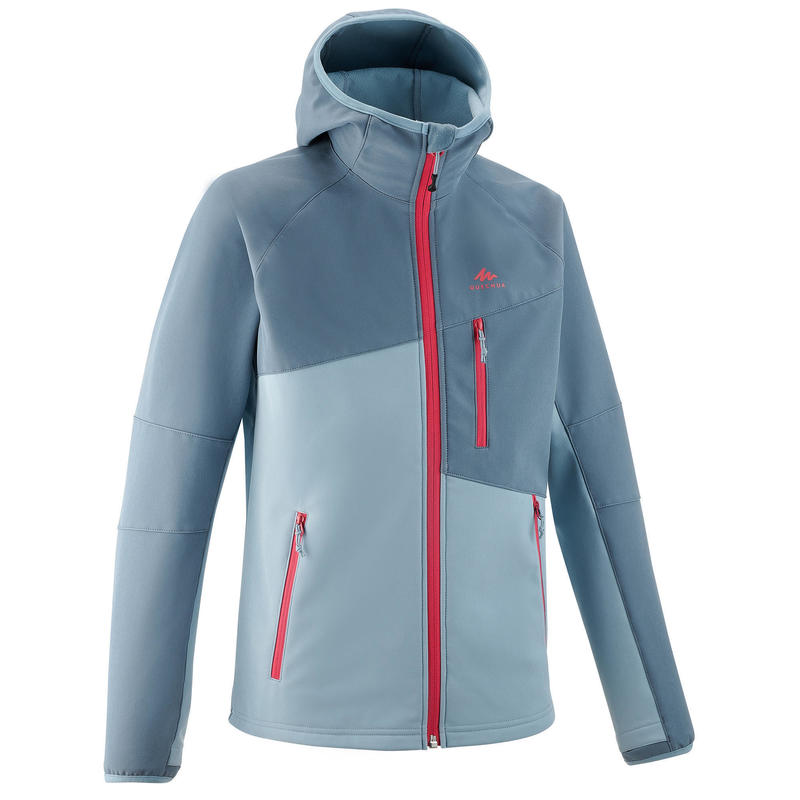 KIDS' SOFTSHELL HIKING JACKET MH500 7-15 YEARS - GREY BLUE