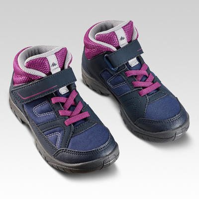 Kids High Top Hiking Shoes MH100 MID KID 24 TO 34 - Purple