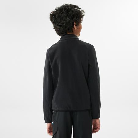 Толстовка флисовая для походов для детей 7–15 лет черная MH150