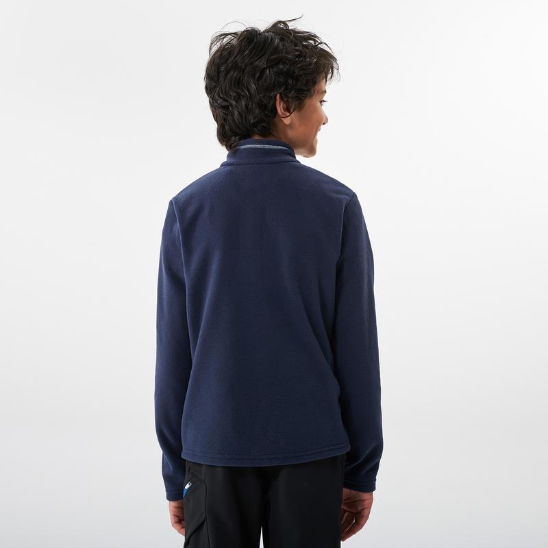 เสื้อแจ็คเก็ตเดินป่าผ้าฟลีซสำหรับเด็กอายุ 7-15 ปีรุ่น MH100 (สีกรมท่า)