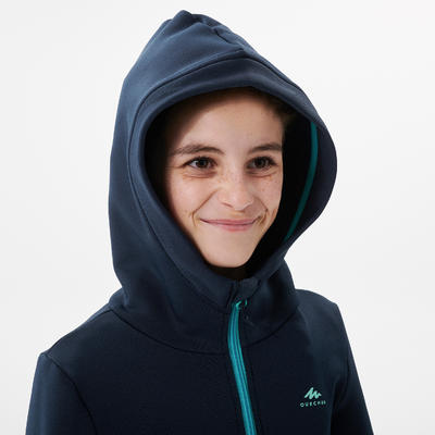KIDS' HIKING FLEECE - MH500 AGED 7-15 - BLUE
