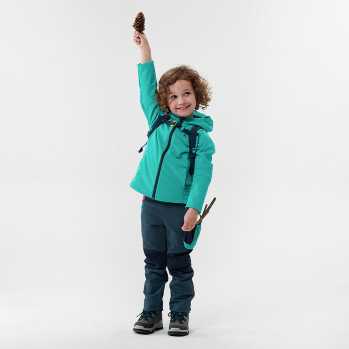 Softshell wandeljas voor kinderen MH550 turquoise 2- 6 jaar