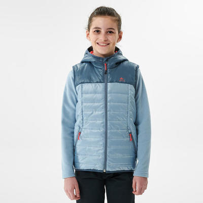 Kids' Hiking Padded Gilet MH500 7-15 Years - Blue Grey