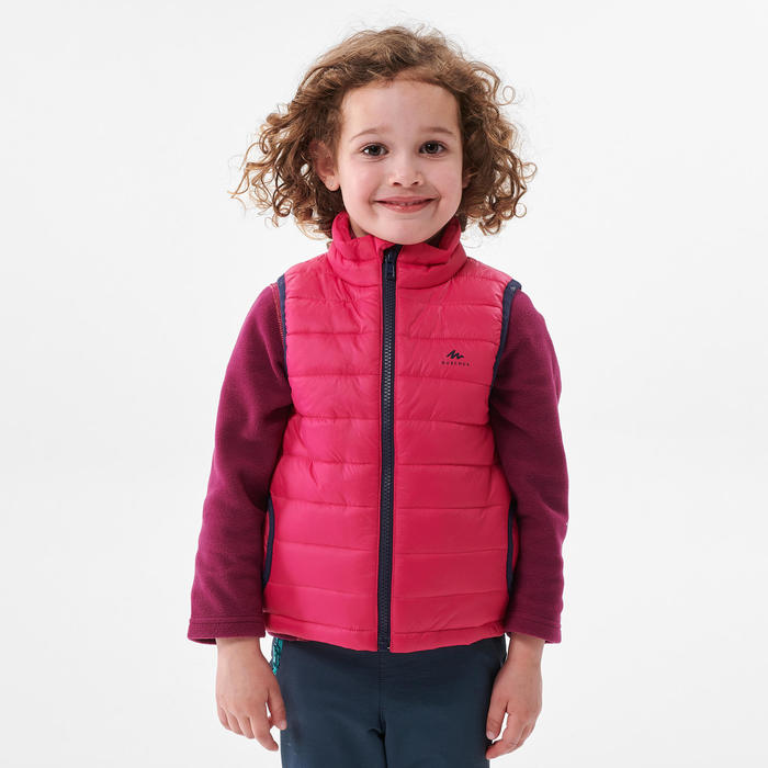 Gewatteerde bodywarmer voor wandelen kinderen 2-6 jaar MH500 roze