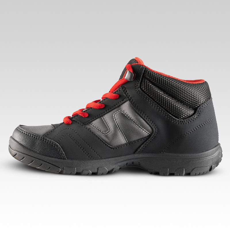 Kids Mountain Hiking Boots 35 TO 38 Mid JR MH100 - Black/Red