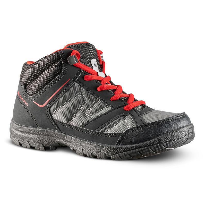 Halfhoge wandelschoenen voor kinderen MH100 maat 35 tot 38 zwart/rood