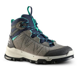 WATERPROOF MOUNTAIN HIKING SHOES - MH500 - TURQUOISE/GREY - KIDS - SIZE 28 TO 39