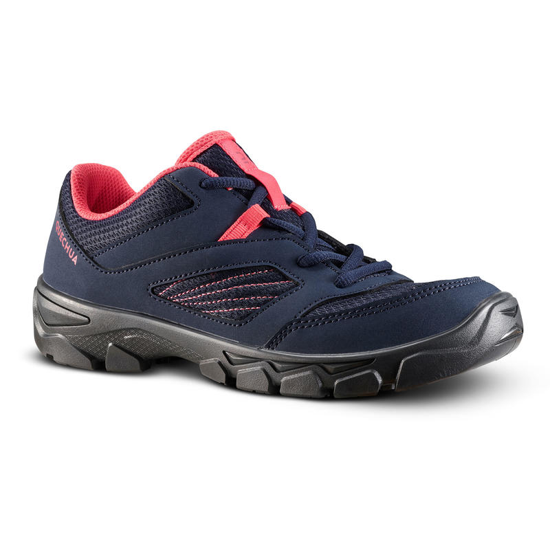 Kids' Lace-up Hiking Shoes MH100 from size 2 TO 5 Blue Coral