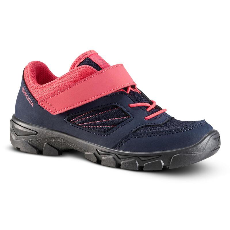 Chaussures de randonnée enfant avec scratch MH100 bleu et rose du 24 AU 34