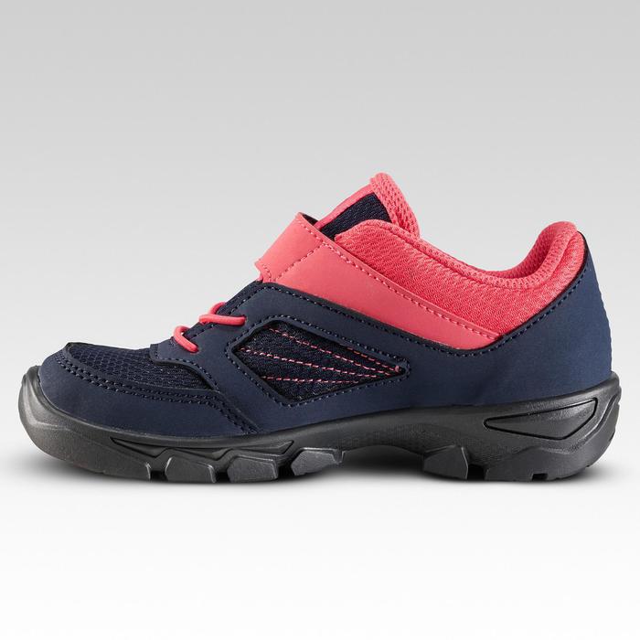 Chaussures de randonnée enfant avec scratch MH100 basse bleu et rose du 24 AU 34