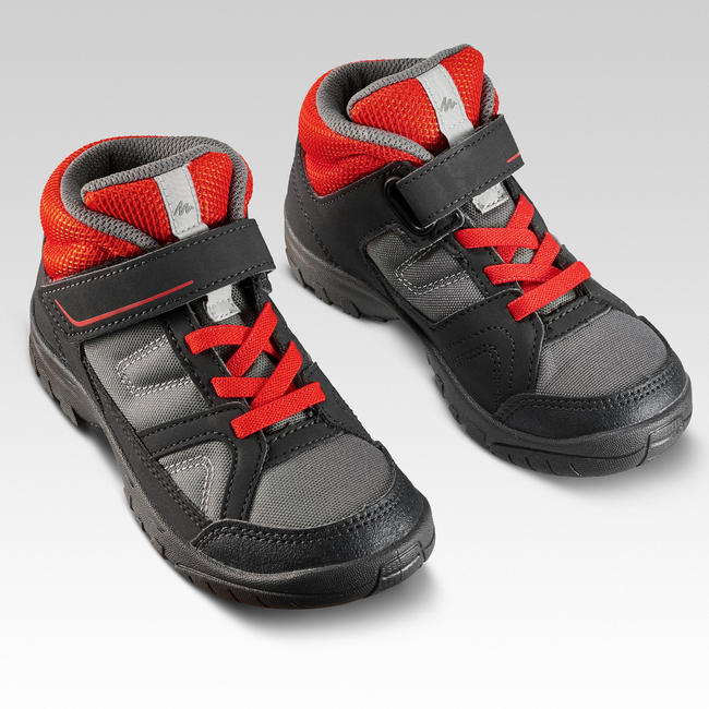 Kids Hiking Shoes (Mid Ankle) MH100 - Grey/Red