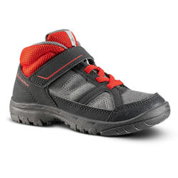 MOUNTAIN HIKING SHOES - MH100 MID - GREY/RED - KIDS - SIZE 24 TO 34