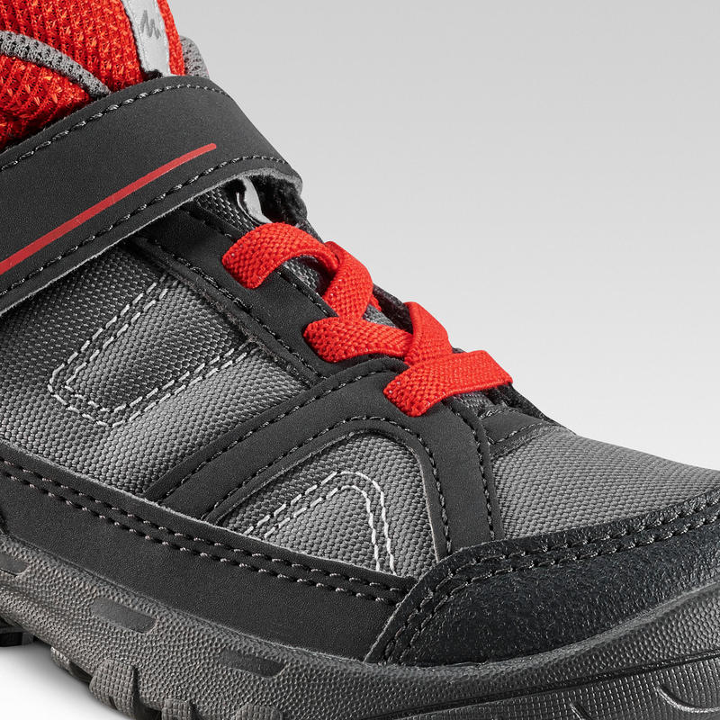 Kids Mountain Hiking High Top Shoes MH 100 MID KID 24 TO 34 - Grey/Red