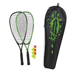 Speedbadminton set (2 rackets, hoes en 3 shuttles)