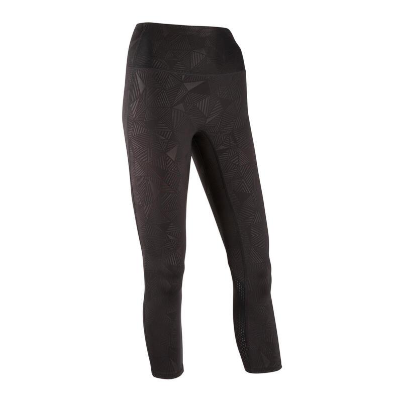 Fitness legging 7/8 modellerend met hoge taille zwart
