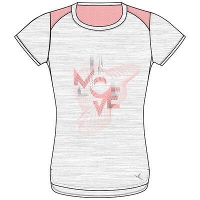 Camiseta manga corta transpirable 500 niños GIMNASIA INFANTIL gris claro estamp.