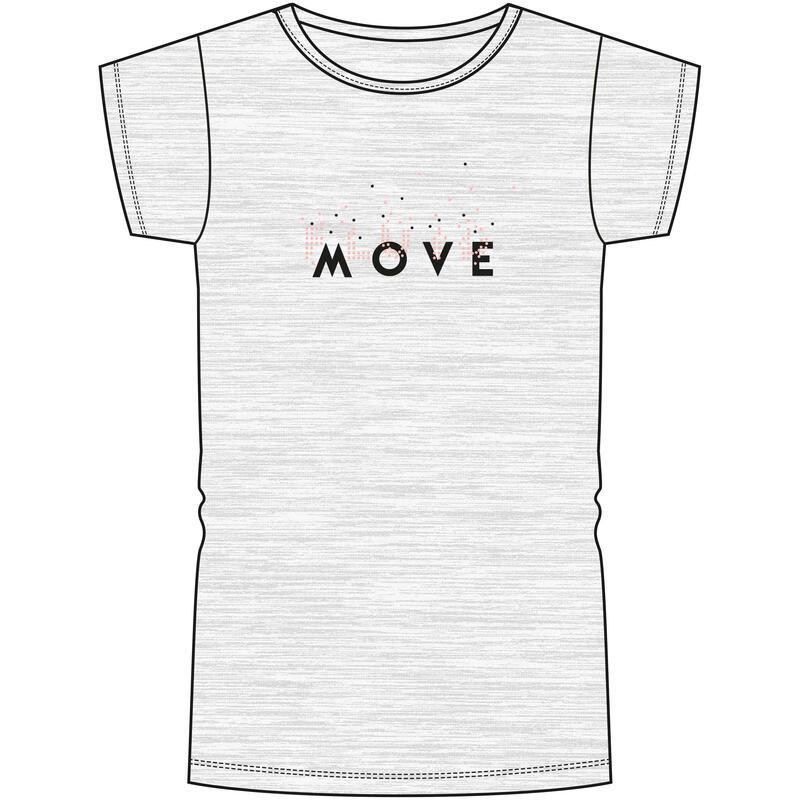 T-Shirt manches courtes 100 fille GYM ENFANT gris clair imprimé