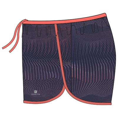 Girls' Breathable Gym Shorts W500 - Navy Blue Print/Coral