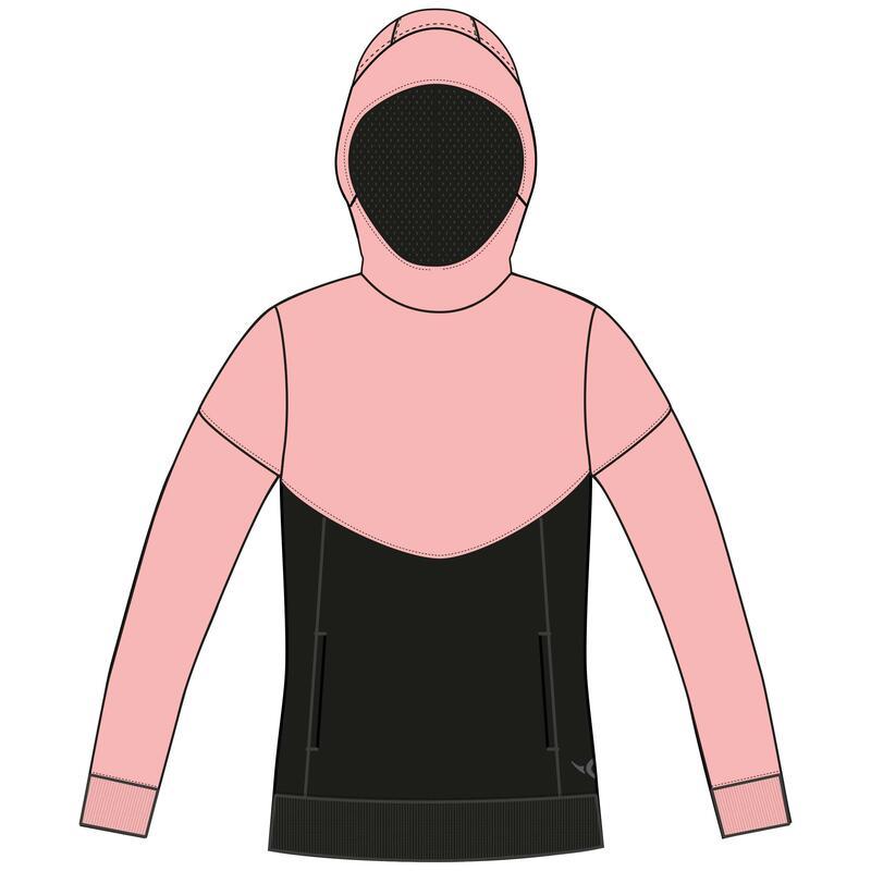 Sweat capuche chaud, 500 fille GYM ENFANT rose et noir Poches zippées