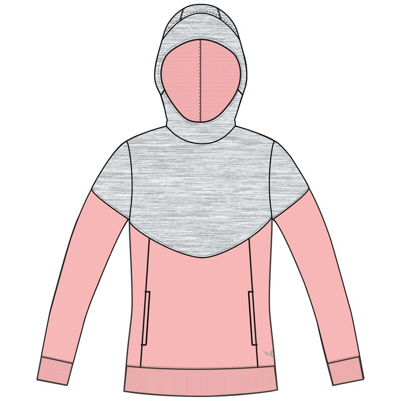 Sweat capuche chaud, 500 fille GYM ENFANT gris chiné clair, rose Poches zippées