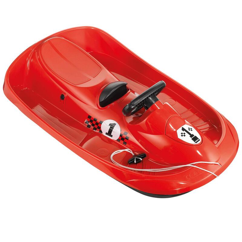 Trineo de nieve 1 plaza, freno y volante, hamax Formel, niños, rojo