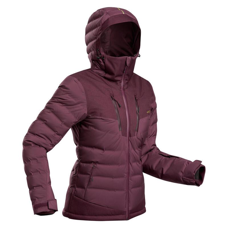 Women's Warm Padded Ski Jacket 900 Burgundy