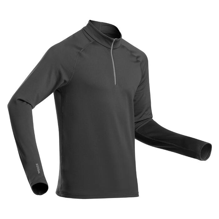 Sous-vêtement de ski homme 500 1/2 zip haut gris foncé