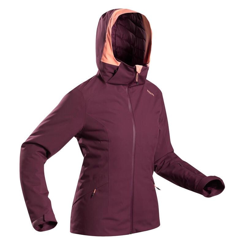 Women's Warm Ski Jacket 500 - Burgundy