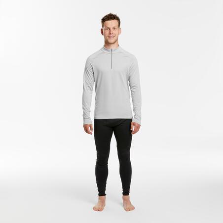 Men's Ski Base Layer Top 500 1/2 Zip - Light Grey