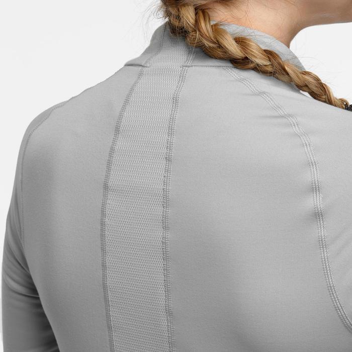 Sous-vêtement de ski Femme 500 1/2 zip haut gris clair