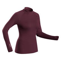 女款滑雪底層上衣500 - 酒紅色