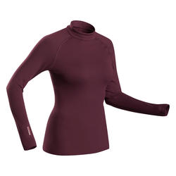 Thermoshirt voor skiën dames 500 bordeaux