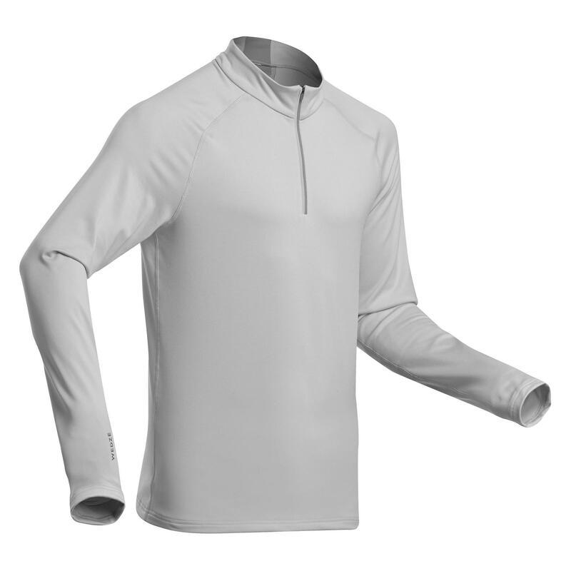 Thermoshirt voor skiën heren 500 1/2 rits lichtgrijs