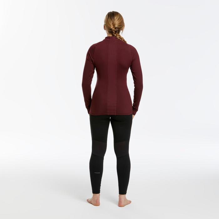 Sous-vêtement de ski femme 500 haut bordeaux