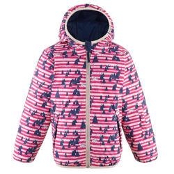 VESTE DE SKI ENFANT WARM REVERSE 100 BLEUE ET ROSE