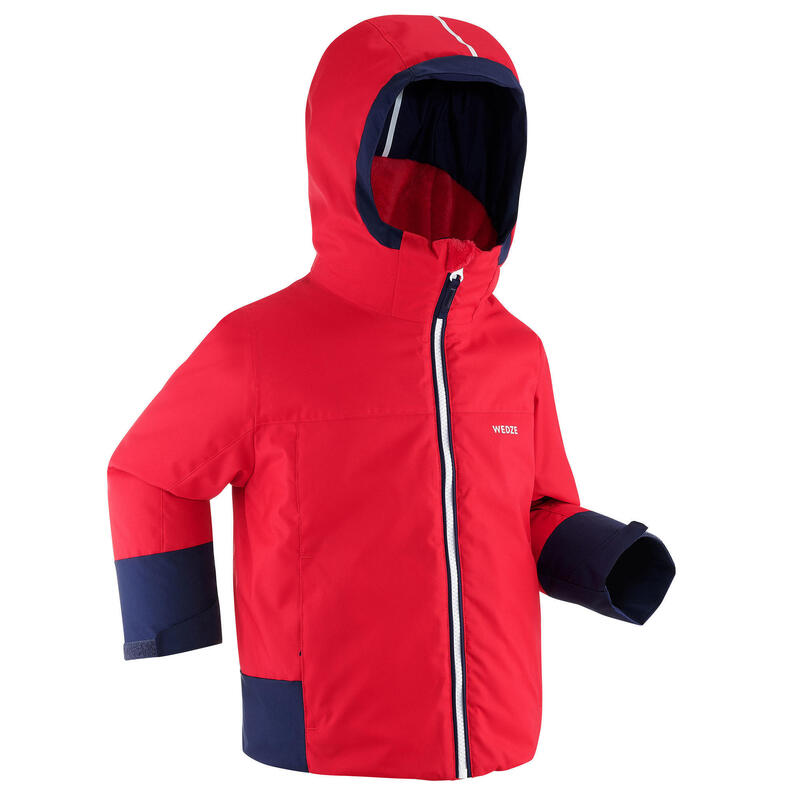 KIDS' WARM AND WATERPROOF SKI JACKET 500 PULL'N FIT RED / NAVY