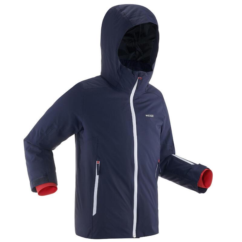 Warme en waterdichte ski-jas voor kinderen 500 marineblauw