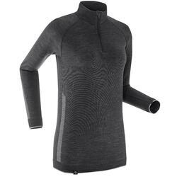 Technisch langlaufshirt met lange mouwen voor dames XC UW S 500 merinowol grijs