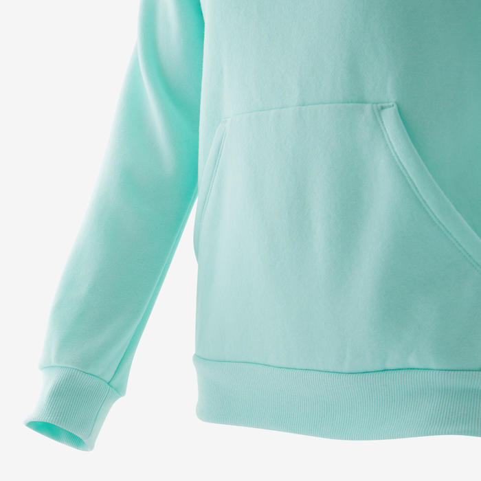 Sweat capuche molleton chaud 100 fille GYM ENFANT vert uni